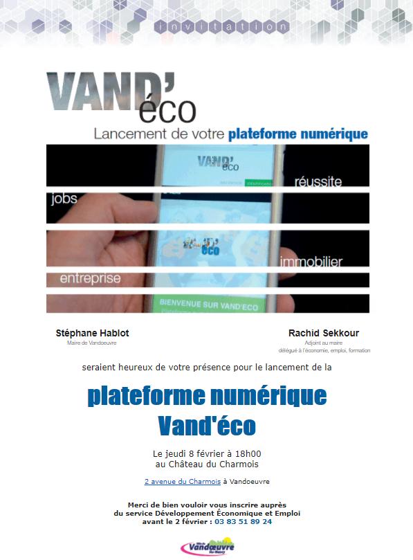Invitation pour le lancement de la plateforme VANDECO